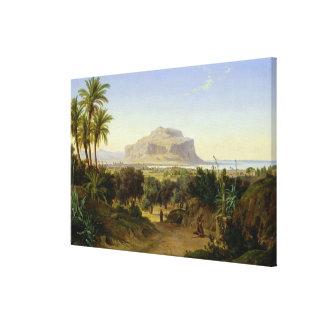 Vista de Palermo con el soporte Pellegrino Impresiones En Lona