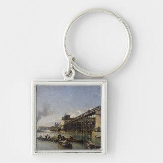 Vista de París, del Sena o del l'Estacade, 1853 Llavero Cuadrado Plateado