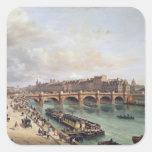 Vista de Pont Neuf, 1832 Calcomanías Cuadradas Personalizadas