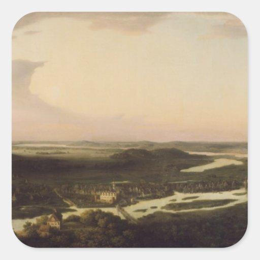 Vista de Potsdam en el siglo XVII, 1851 Calcomanías Cuadradas Personalizadas