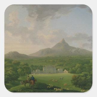 Vista de Powerscourt, condado Wicklow, c.1760-2 Pegatina Cuadrada