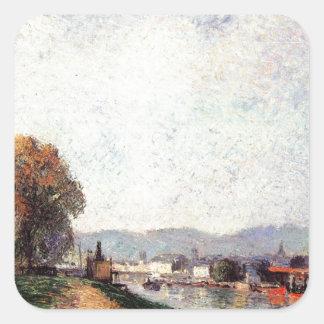 Vista de Ruán de Camille Pissarro Pegatina Cuadrada