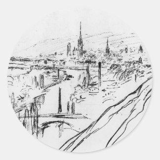 Vista de Ruán de Camille Pissarro Pegatina Redonda