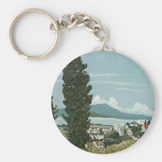Vista de San Francisco Bay de las colinas de Oakla Llavero Redondo Tipo Pin