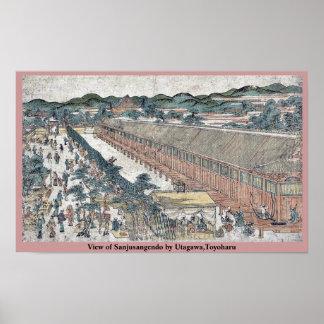 Vista de Sanjusangendo por Utagawa, Toyoharu Posters