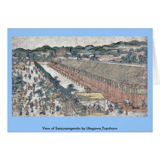Vista de Sanjusangendo por Utagawa, Toyoharu Felicitacion