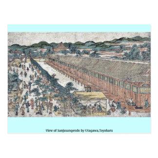 Vista de Sanjusangendo por Utagawa, Toyoharu Tarjeta Postal