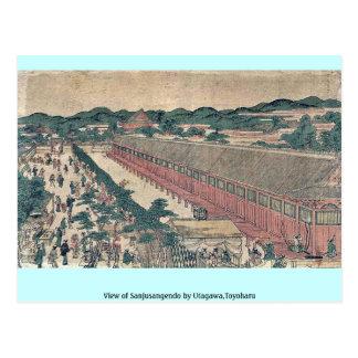 Vista de Sanjusangendo por Utagawa, Toyoharu Postal