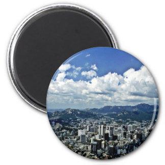 Vista de Seul de Namsan Imán Redondo 5 Cm