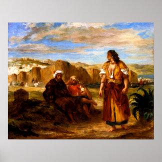 Vista de Tánger con dos árabes asentados Póster