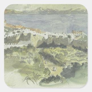 Vista de Tánger de Eugene Delacroix Pegatina Cuadrada