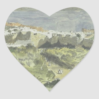 Vista de Tánger de Eugene Delacroix Pegatina En Forma De Corazón
