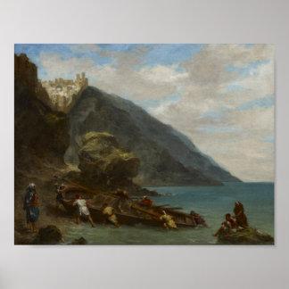 Vista de Tánger de la costa, Eugèn 1856-1858 Póster