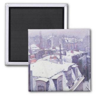 Vista de tejados o de tejados debajo de la nieve,  imán cuadrado