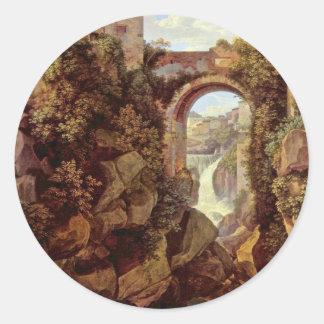Vista de Tivoli del cristiano de Reinhart Juan Etiqueta Redonda