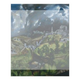 """Vista de Toledo de El Greco Folleto 4.5"""" X 5.6"""""""