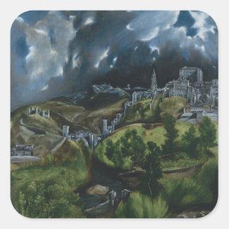 Vista de Toledo de El Greco Pegatina Cuadrada