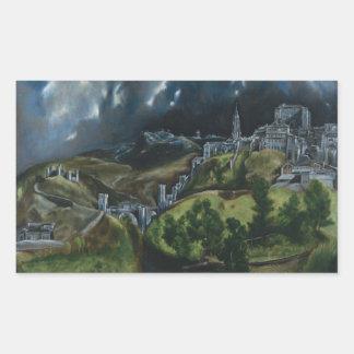 Vista de Toledo de El Greco Pegatina Rectangular