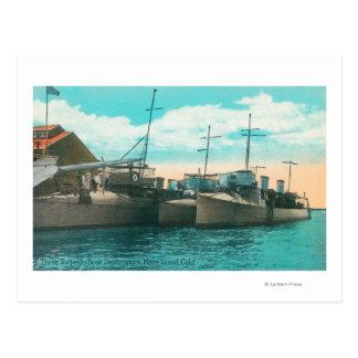Vista de tres destructores del barco de torpedo en postales
