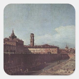 Vista de Turín de los jardines del Palazzo Pegatina Cuadrada