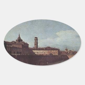 Vista de Turín de los jardines del Palazzo Pegatina Ovalada