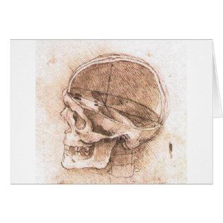 Vista de un cráneo de Leonardo da Vinci circa 1489 Tarjeta De Felicitación