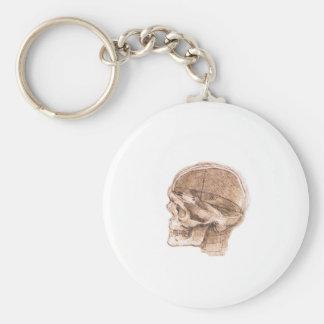 Vista de un cráneo Leonardo da Vinci Llavero Personalizado