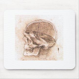Vista de un cráneo Leonardo da Vinci Tapetes De Ratón