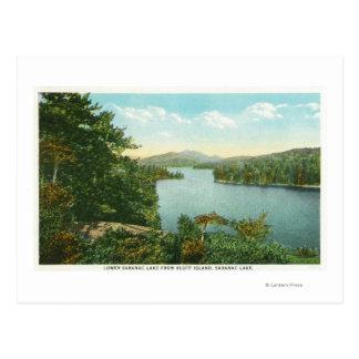 Vista de un lago más bajo Saranac de la isla del Postales