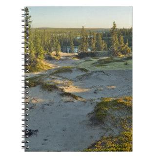 Vista de un lago y de las colinas circundantes de  cuadernos