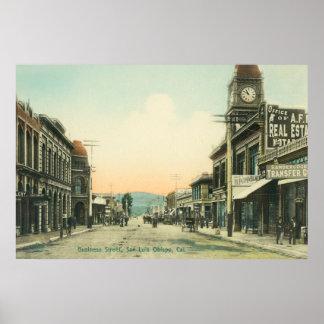 Vista de un negocio StreetSan Luis Obispo, CA Póster