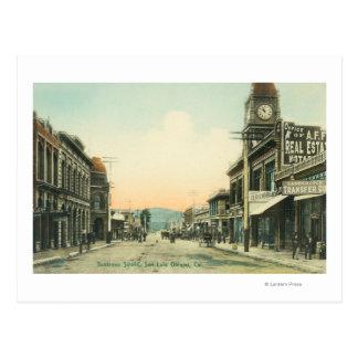 Vista de un negocio StreetSan Luis Obispo, CA Tarjeta Postal