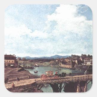 Vista de un puente viejo sobre el río Po, Turín Pegatina Cuadrada