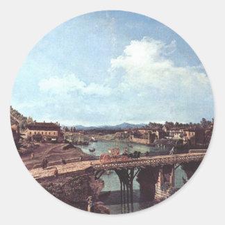 Vista de un puente viejo sobre el río Po, Turín Pegatina Redonda