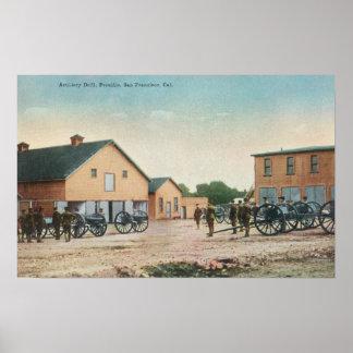 Vista de un taladro de artillería en Presidio Posters