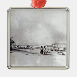 Vista de Valparaiso, 1834 Adorno Navideño Cuadrado De Metal
