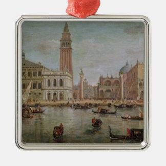 Vista de Venecia, 1719 Adorno Cuadrado Plateado