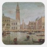 Vista de Venecia, 1719 Pegatina Cuadrada