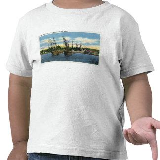 Vista de viejos naufragios en el puerto camiseta