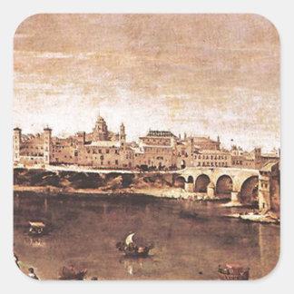 Vista de Zaragoza de Diego Velázquez Pegatina Cuadrada