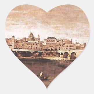 Vista de Zaragoza de Diego Velázquez Pegatina En Forma De Corazón