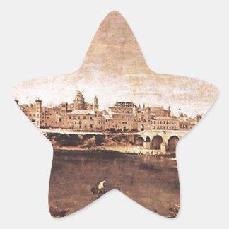 Vista de Zaragoza de Diego Velázquez Pegatina En Forma De Estrella