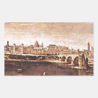 Vista de Zaragoza de Diego Velázquez Pegatina Rectangular