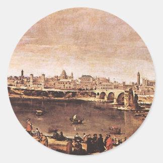 Vista de Zaragoza de Diego Velázquez Pegatina Redonda