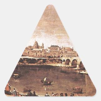 Vista de Zaragoza de Diego Velázquez Pegatina Triangular