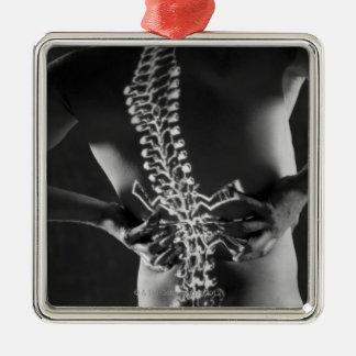 Vista del acorde espinal adorno cuadrado plateado