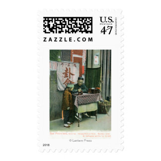 Vista del adivino chino en el escritorio timbre postal