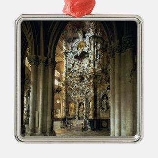 """Vista del altar y del """"Transparente"""", c.1720 Adorno Navideño Cuadrado De Metal"""