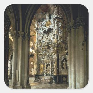 """Vista del altar y del """"Transparente"""", c.1720 Pegatina Cuadrada"""