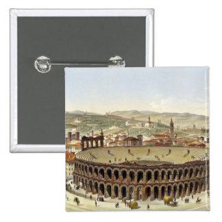 Vista del Amphitheatre romano, Verona, b grabado Pin Cuadrada 5 Cm